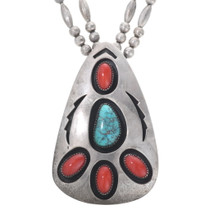 Old Pawn Turquoise Coral Pendant 34622