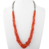 Vintage Mediterranean Coral Silver Necklace 34623