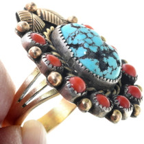 Native American Spiderweb Turquoise Ring 34625