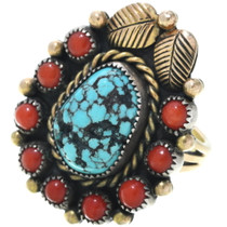 Old Pawn Turquoise Coral 14KG Ring 34625