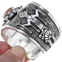 Pueblo Kachina Silver Overlay Design Coral Bracelet 34626