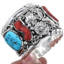 Highest Grade Coral Sleeping Beauty Turquoise Cuff Bracelet 34627