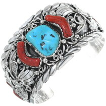 Vintage Victor Chee Masterpiece Turquoise Coral Bracelet 34627