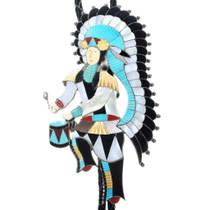 Vintage Zuni Inlaid Chief Dancer Bolo Tie 34628