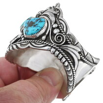 Dazzling Navajo Sterling Silver Pattern Turquoise Bracelet 34633