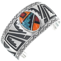Navajo Overlaid Sterling Silver Cuff 34634