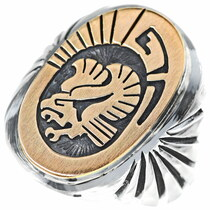 Navajo Eagle Silver Gold Signet Ring 34638