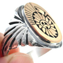 Navajo Design Silver Gold Sunface Big Boy Ring 34638