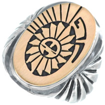 Silver Gold Sunface Big Boy Ring 34638