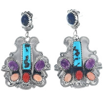 Navajo Turquoise Coral Earrings 34659