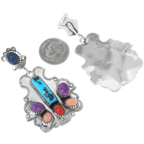 Native American Multi Gem Western Post Dangle Earrings 34659