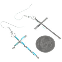 Turquoise Zuni Needlepoint French Hook Earrings 34668