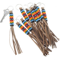 Beaded Key Ring With Leather Fringe
