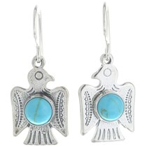 Silver Turquoise Thunderbird Earrings 34678