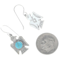 Navajo Silver Turquoise Thunderbird Earrings 34678