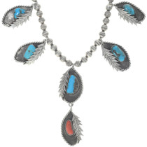 Navajo Handmade Turquoise Silver Necklace 34680