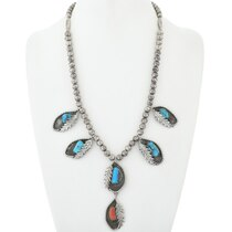 Old Pawn Turquoise Silver Necklace 34680