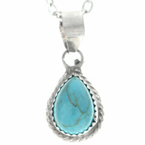 Small Southwest Turquoise Silver Pendant