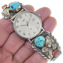 Vintage Turquoise Gold Mens Watch 34683