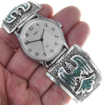 Chip Inlay Mens Turquoise Silver Watch 34684