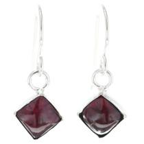 Navajo Garnet Silver Earrings 34685