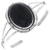 Black Onyx Silver Ladies Navajo Bracelet 34694