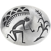 Old Pawn Hopi Overlaid Sterling Belt Buckle 34697