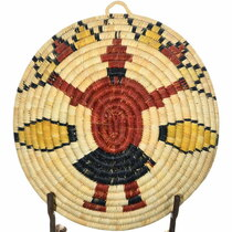 Hand Woven Mudhead Kachina Design Hopi Basket 34801