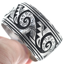 Sterling Silver Navajo Overlay Cuff Bracelet 34809