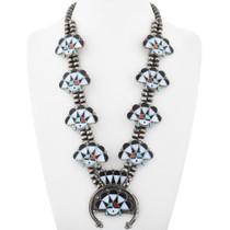 Old Pawn Sunface Squash Blossom Necklace 34816