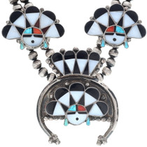 Native American Turquoise Inlay Squash Blossom Necklace 34816