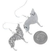 Navajo Southwest Western Silver Wolf Coyote Earrings 34823