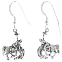 Western Bronco Silver Drop Earrings 34824