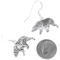 Walking Bear Sterling Silver Earrings 34825