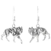 Navajo Sterling Silver Wolf Earrings 34826