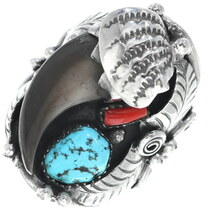 Navajo Bear Claw Turquoise Ring 34699