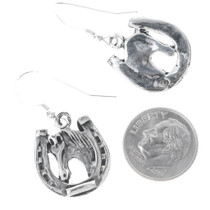 Horse and Horseshoe Sterling Silver Earrings 34829