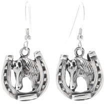Navajo Silver Horseshoe Earrings 34829
