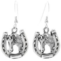 Navajo Silver Horseshoe Earrings 34829