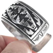Navajo Rug Pattern Sterling Overlay Cuff Bracelet 34831