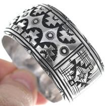 Navajo Geometric Pattern Silver Overlay Bracelet 34833