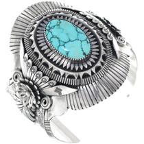 Vintage Spiderweb Turquoise Silver Cuff Bracelet 34835