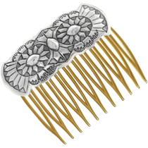 Navajo Hammered Sterling Silver Hair Comb 34837