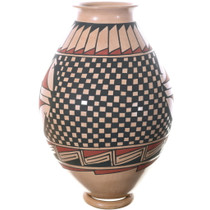 Hand Painted Checker Pattern Casas Grandes Traditional Pottery 34848