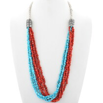 Navajo Natural Turquoise Coral Necklace 34858