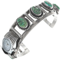 Old Pawn Green Turquoise Watch Cuff Bracelet 34861
