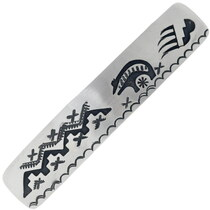 Authentic Navajo Bear Pattern Silver Barrette Clip 34863
