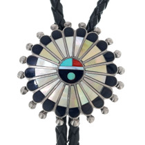 Old Pawn Zuni Sunface Bolo Tie 34870