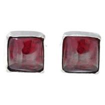 Navajo Garnet Silver Stud Earrings 34871