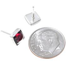 Sterling Silver Garnet Earrings 34871